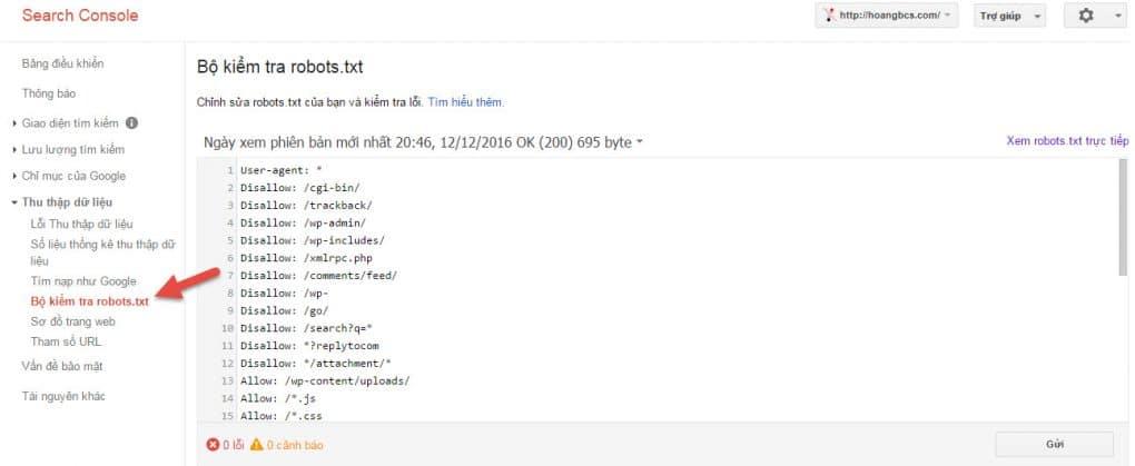 file robot.txt dung tren google webmaster tools - hoangbcs.com
