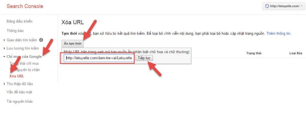 phan xoa url tren webmaster tools - hoangbcs.com