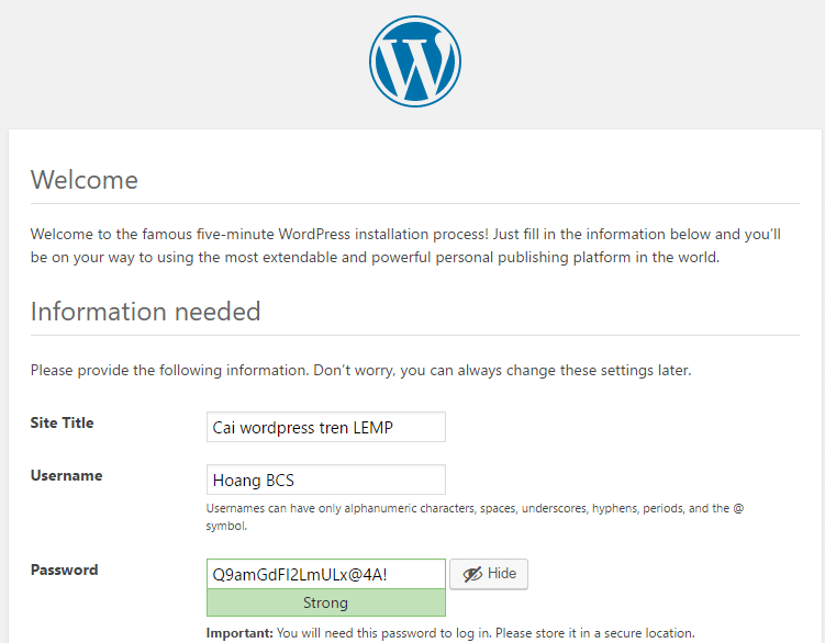 cai dat wordpress tren Lemp vps centos - hoangbcs.com