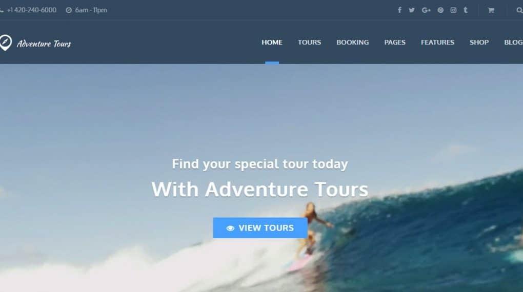 wordpress theme du lich Adventure Tours