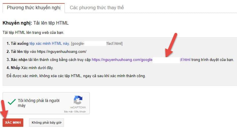 Hướng dẫn chứng thực tên miền có SSL trên Google Master tool