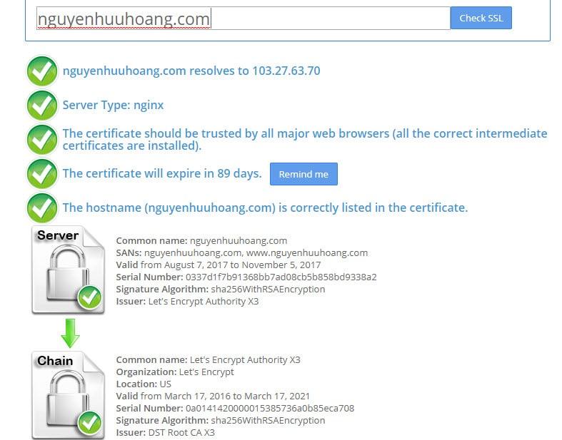 Cách kiểm tra việc cài đặt SSL có thành công