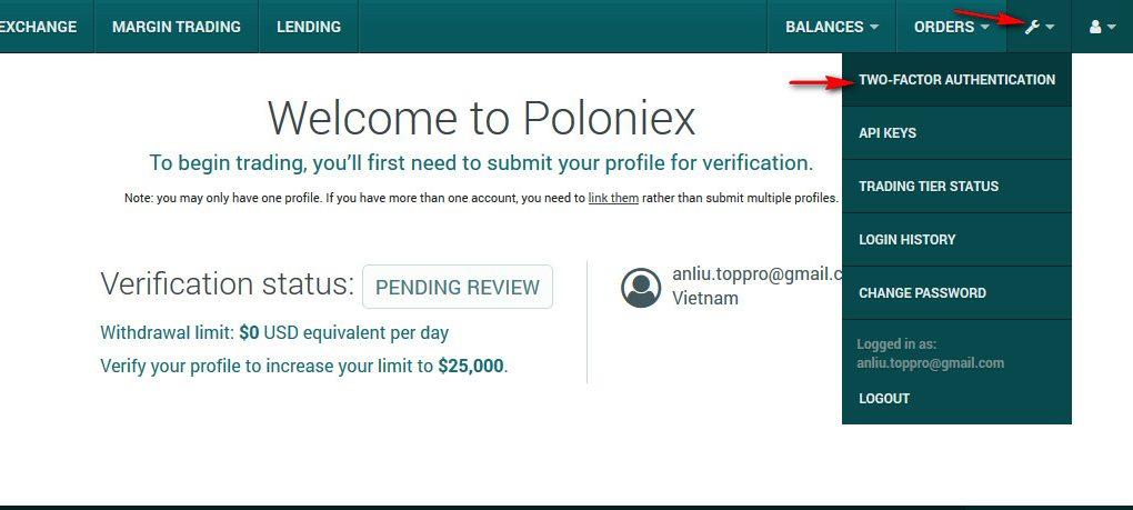 bảo mật tài khoản trên sàn poloniex