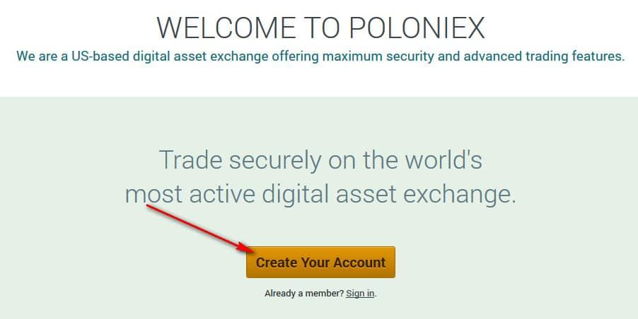 cách đăng ký tài khoản nhanh chóng trên sàn poloniex