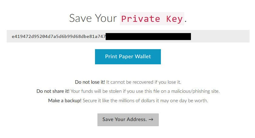 cách tạo ví trữ ethereum trên myetherwallet có private key