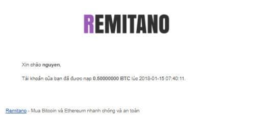 mail thông báo nhận btc từ remitano