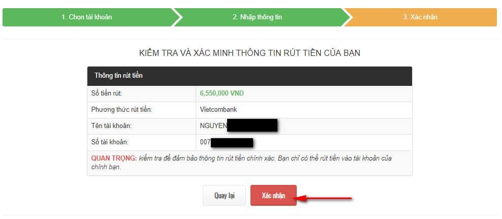 thực hiện rút tiền từ remitano về tài khoản ngân hàng