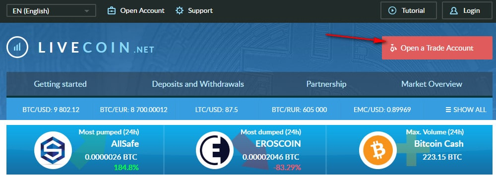 cách đăng ký tài khoản trên sàn livecoin