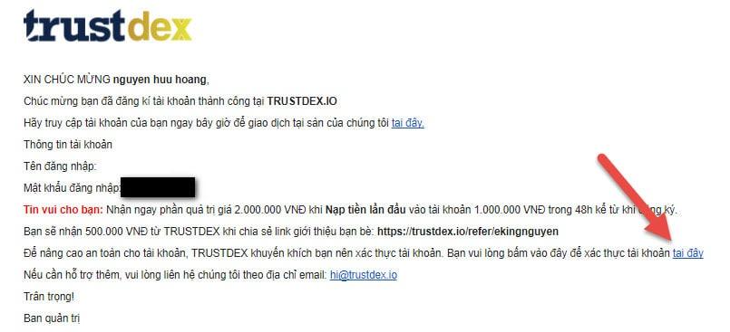 đăng ký thành công tài khoản giao dịch coin trên sàn trustdex