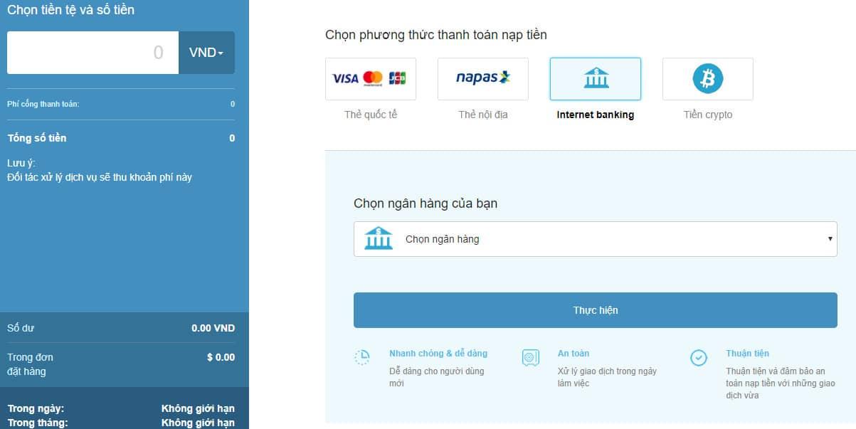 sàn trustdex hỗ trợ nhiều phương thức thanh toán tại Vn