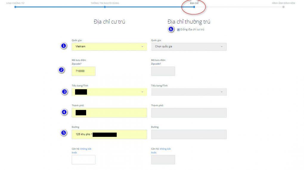 cung cấp thông tin địa chỉ trên sàn trustdex