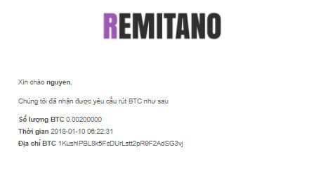 nhận thông báo gửi từ mail từ hệ thống remitano