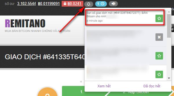 Theo dõi giao dịch khi bán bitcoin trên remitano