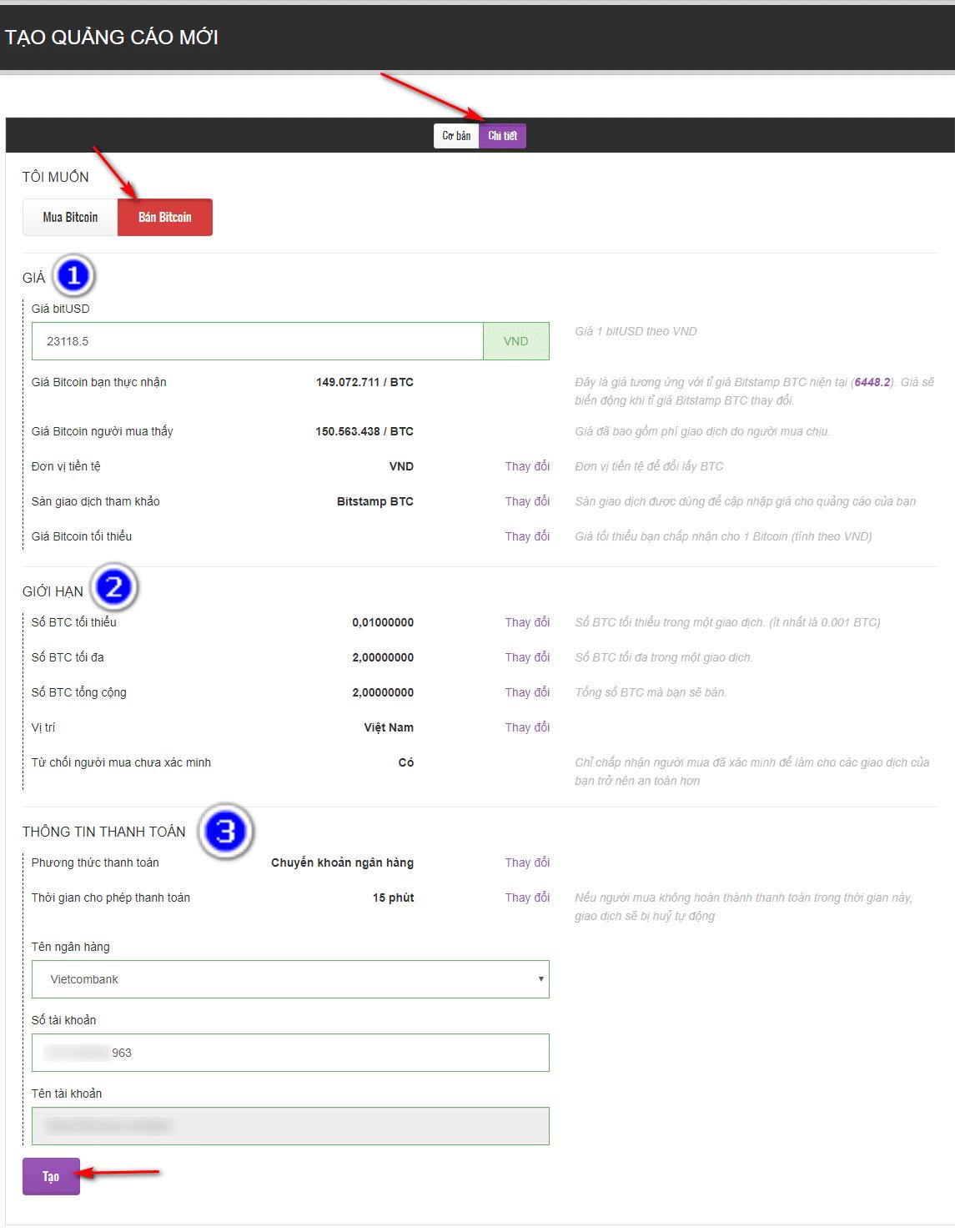 cấu hình chi tiết quảng cáo bán bitcoin trên remitano