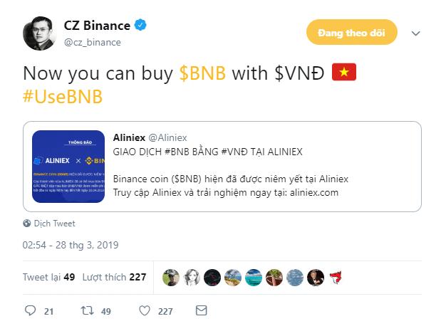 CEO CZ binance nói về sàn coin aliniex