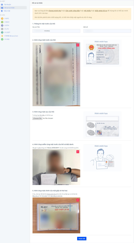hướng dẫn đăng ký thông tin cá nhân trên sàn aliniex vn thành công