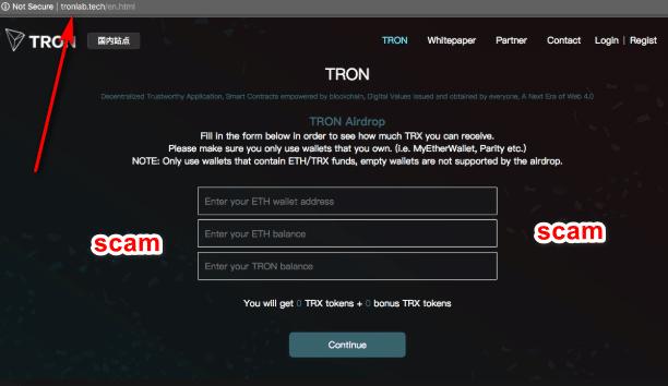 Lừa đảo phát hành coin TRON miễn phí