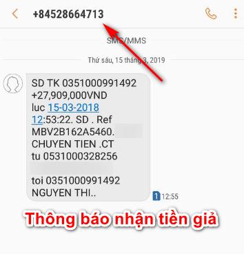 Nội dung lừa đảo tin nhắn nhận tiền