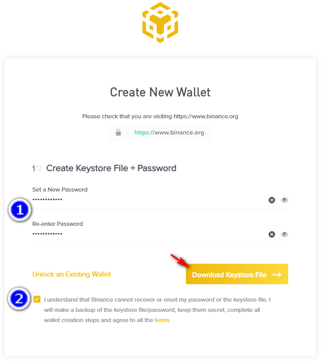 create new wallet on binance dex