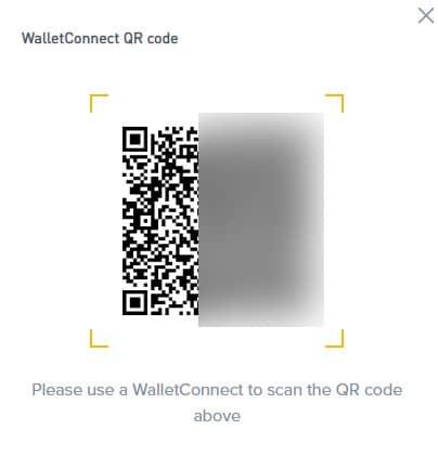 wallet connect QR code trên ví trust wallet